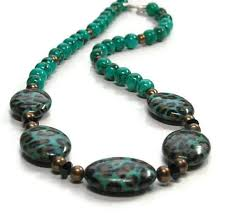real turquoise necklace images Genuine turquoise gemstone necklace with leopard print beads jpg