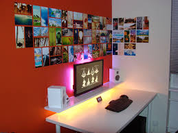 vibrantly backlit home office setup with ikea furniture