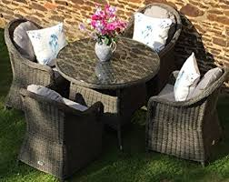 Capri Grey Rattan Garden Or Conservatory Round Dining Table And - Round dining table with wicker chairs