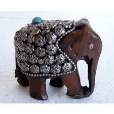 home decor gifts online india wood elephant with metal inlay online shopping india buy