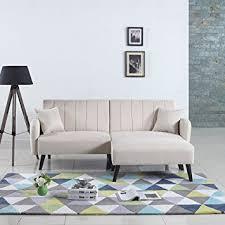 Linen Sleeper Sofa Mid Century Modern Linen Fabric Futon Sofa Bed Living