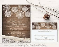 rustic winter wedding invitation set with snowflakes wood