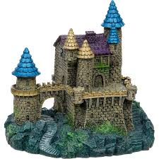 blue ribbon purple blue roof castle aquarium ornament my pet
