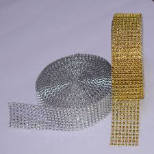 online buy wholesale rhinestone mesh plastic trimming from china 5 yard 8 row gold silver diamond mesh wrap roll sparkle rhinestone crystal cake ribbon wedding