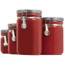 retro kitchen canister set burnt orange tomato red west bend