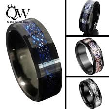 cheap mens wedding bands queenwish 8mm black blue tungsten carbide rings sliver black 18k