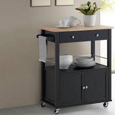 baxton studio denton black kitchen cart with wood top 28862 6120