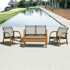 Outdoor Patio Conversation Sets by International Home 4 Piece Brown Wood Patio Conversation Set