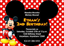 2nd Birthday Invitation Card Birthday Invitation Mickey Mouse Birthday Invitations New