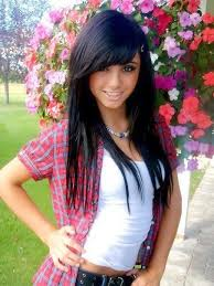 black hair swoop bang long hair with swoop bangs hairstyle for women man