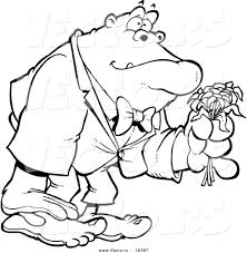 vector of a cartoon romantic gorilla holding flowers outlined