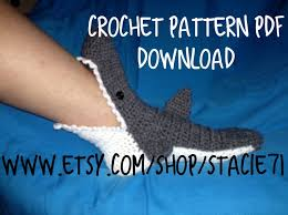pattern for crocheted shark socks baby child and