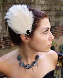 hair fascinators handmade sale black swan feather hair fascinators set of 2 white