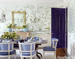 William Hill Interiors Blue De Gournay And Gracie Wallpapered Dining Rooms