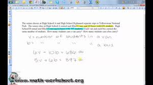 algebra systems of equations and inequalities word problems
