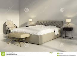 chic tufted leather bed in contemporary chic bedroom front royalty chic tufted leather bed in contemporary chic bedroom royalty free stock images