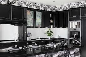 Black And White Contemporary Kitchen - black and white modern kitchen with stylish furniture royalty free