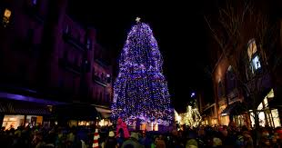 christmas trees and lights let there be light christmas tree glows from church street