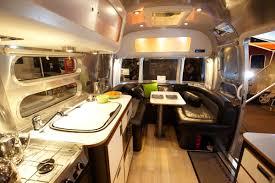 Caravan Interiors Elegant Airstream Interior Design With Wooden Furnishing And
