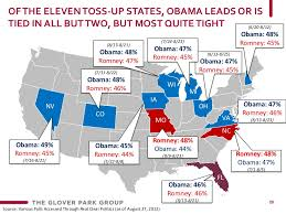 Romney Obama Map Of The Eleven Toss Up States