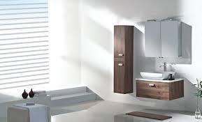 small brown wooden floating vanity with white porcelain trough f