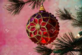 christmas tree vintage christmas ornament in colors of purple