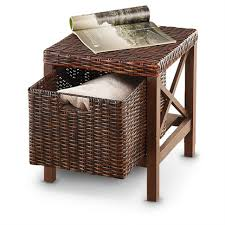 Seagrass Storage Ottoman Woven Seagrass Storage Ottoman Wicker With Cushion