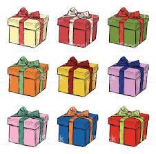 hand drawing of christmas gift set of nine vector illustrations
