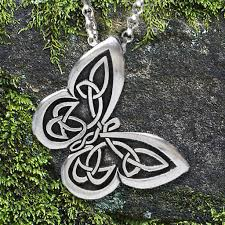 celtic butterfly pendant with spread your wings affirmation on the