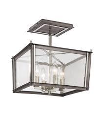 4 Light Semi Flush Ceiling Fixture by Elk 31961 4 Ridgeview 4 Light 13 Inch Weathered Zinc Polished
