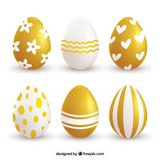 golden easter egg pack of six golden easter eggs vector free