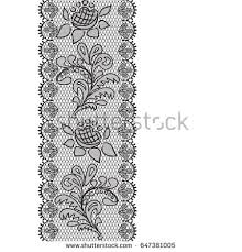 black lace ribbon black lace design background ornamental flowers stock illustration
