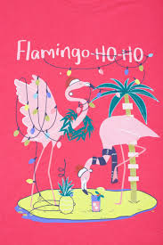 pink christmas flamingo ho ho glitter print t shirt with curved