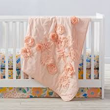Pink And Yellow Bedding Floral Rush Crib Bedding The Land Of Nod