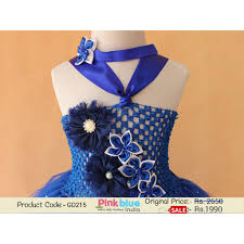 shop online royal blue glitter tutu flower dress with free hair band