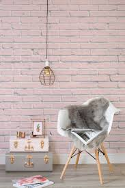 pink brick wallpaper mural rustic chic modern living rooms and