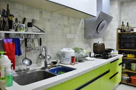 kitchen single line green cabinet with glossy look kitchen single line green cabinet with glossy look combining white furniture