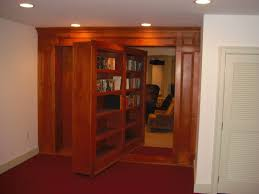 brown stained teak wood movable room divider with open shelf