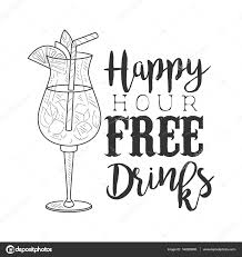 cocktail drawing bar happy hour promotion sign design template hand drawn hipster
