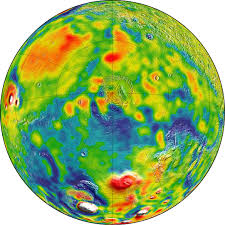 Topographic Map Of The World by New Mars Gravity Map