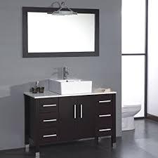 White Bathroom Vanity With Black Granite Top - 48