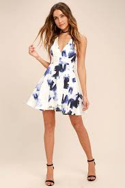 lulus dresses lulus seeing chic blue and ivory print skater dress blue and ivory