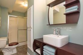 Mirror With Shelves by 3 4 Bathroom With Complex Granite Tile Floors U0026 Flat Panel