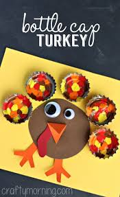 painted bottle cap turkey craft for thanksgiving crafty morning