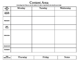 lesson plan template weekly lesson plan template lesson plan