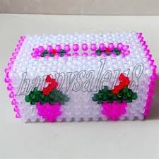 multicle use beaded house home paper handkerchief napkin container