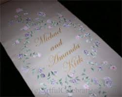 purple aisle runner aisle runners artful celebrations calligraphy painted