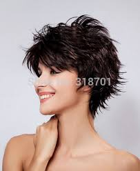 pictures of womens short dark hair with grey streaks short hair wigs natural dark brown with highlights synthetic wigs