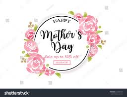 watercolor mothers day greeting card flowers stock vector