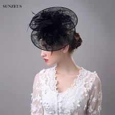 lace headwear vintage lace hats black white feather evening party wedding hats